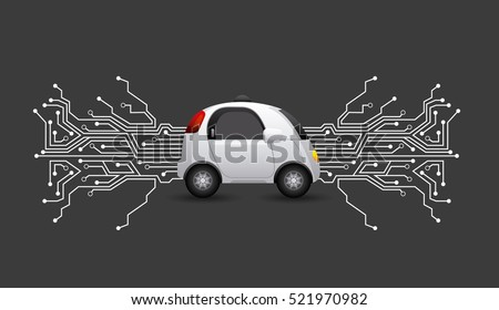 autonomous car vehicle with circuit board  over black background. smart and techonology concept. vector illustration