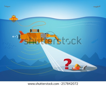 Autonomous Underwater Vehicle or AUV exploring the depths for wreckage and is remotely controlled from a boat. Two Airplanes fly in the sky. Vector Eps10 Illustration and jpg. - stock vector
