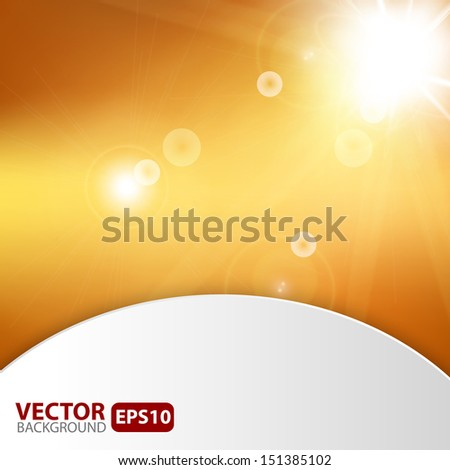 Autumn abstract background with sunburst flare. Vector illustration.  - stock vector