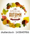 Autumn abstract floral background - circle from colorful leafs with sample text - stock vector