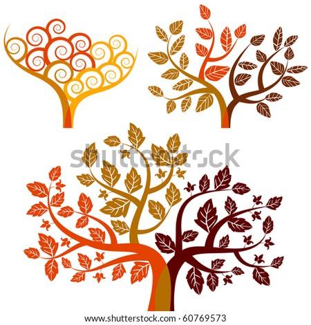 autumn - abstract tree - stock vector