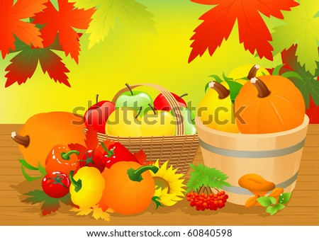 Autumn abundance, vector illustration - stock vector