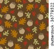 Autumn Acorns and Oak Leaves Seamless Vector Pattern - stock vector