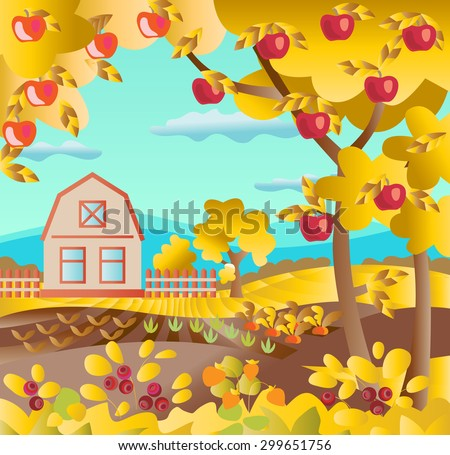 Autumn background. Farm house, field, fruit garden, berry bush, dog roses, carrots, apple trees vector illustration. Fruit orchard. Autumn leaves. Rural landscape.
