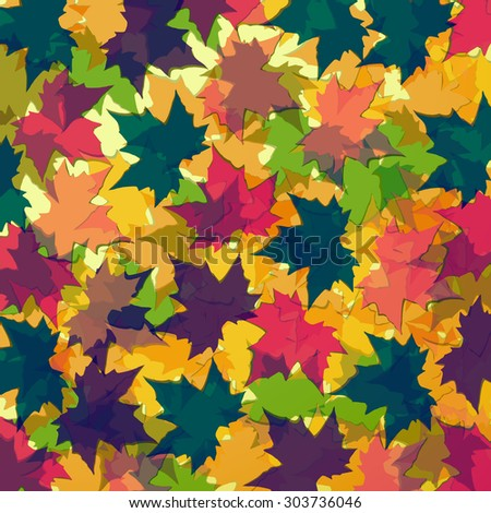 Autumn background of maple leaves. Colorful vector image. Eps 10 - stock vector