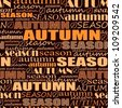 autumn background. seamless vector pattern with words - stock vector