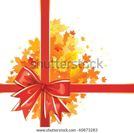 Autumn Background /  Thanksgiving Bow with gold  leaves / vector - stock vector