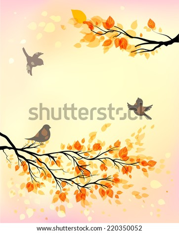 Autumn background with birds and yellow leaves. Copy space. - stock vector