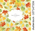 Autumn background with bright leaves - stock vector