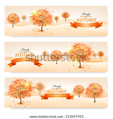 Autumn background with colorful leaves and trees.Vector illustration.  - stock vector
