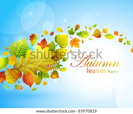 Autumn background with colorful leaves on blue and place for text. Vector illustration. Check my portfolio for raster version. - stock vector