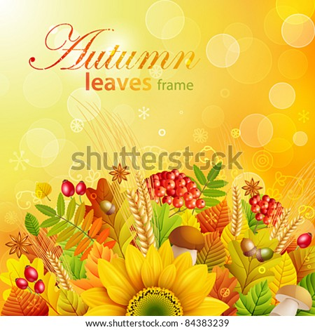 Autumn background with colorful leaves. Vector illustration. Check my portfolio for raster version. - stock vector