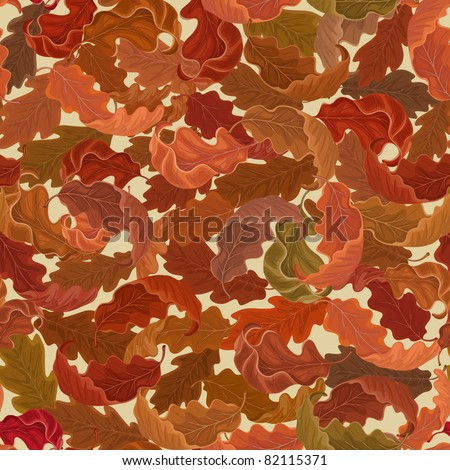 Autumn background with falling oak leaves - stock vector