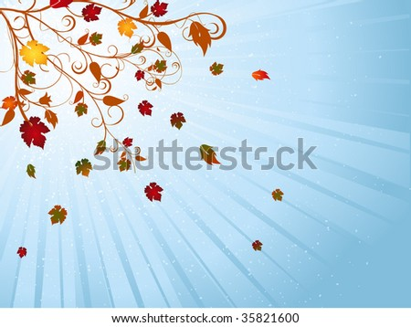 Autumn background with golden autumn leaves