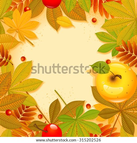 Autumn background with leaf.  Happy thanksgiving day. eps 10 - stock vector