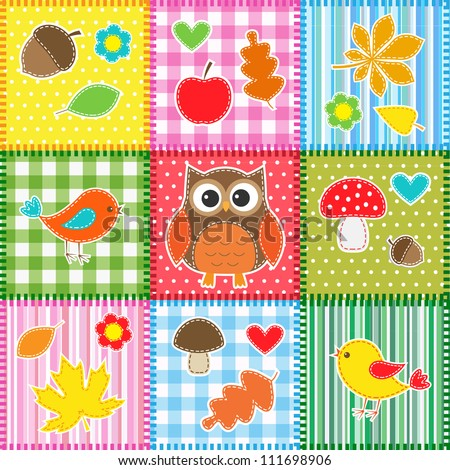 Autumn background with leaves,acorns,birds and owl - stock vector