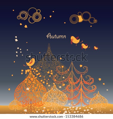 Autumn background with leaves ,birds and trees with place for your text