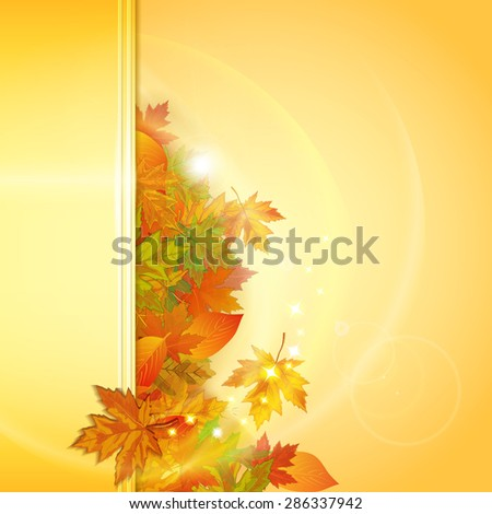 Autumn background with leaves. Vector illustration.