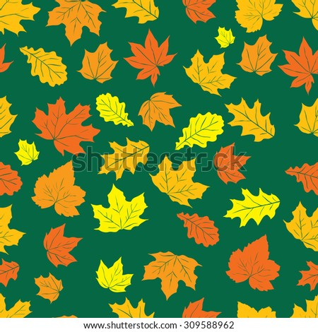Autumn background with leaves. Vector nature background. Seamless pattern.