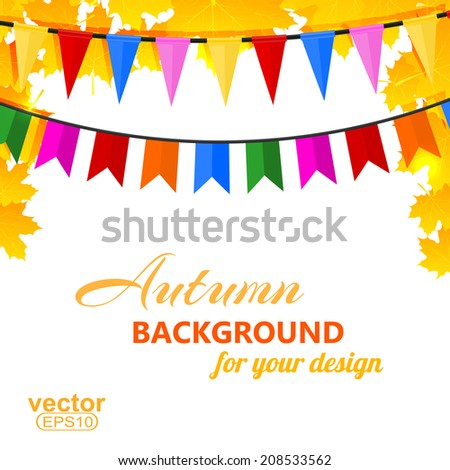 Autumn background with maple leaves and pins. Vector illustration. - stock vector