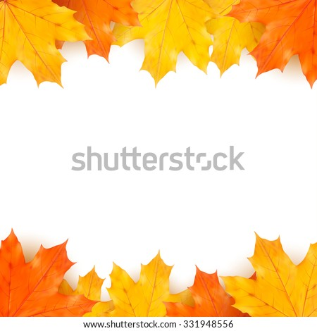 Autumn background with maple leaves, design template - stock vector