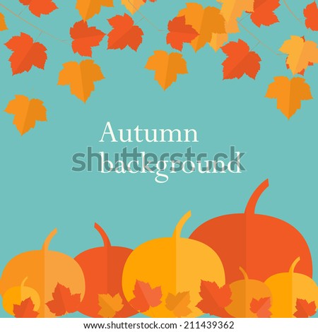 Autumn background with  pumpkins and maple leaves in flat style, vector illustration - stock vector