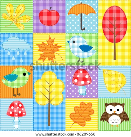Autumn background with trees, leafs, mushrooms and birds - stock vector