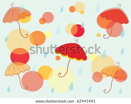 Autumn background with umbrella and circles