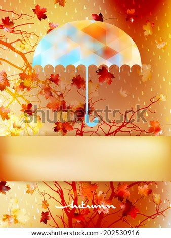 Autumn background with umbrella and leaves. And also includes EPS 10 vector - stock vector
