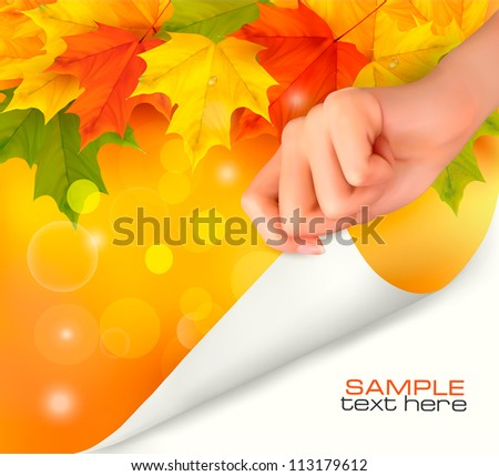 Autumn background with yellow leaves and hand. Vector illustration. - stock vector