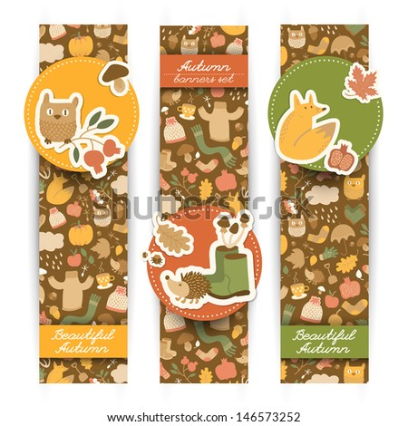 Autumn banners set. Doodle style. Vector Illustration, eps10, contains transparencies. - stock vector