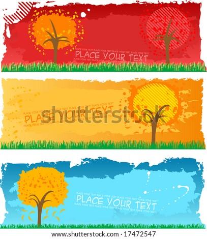 autumn banners - vector - stock vector