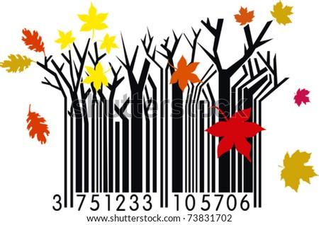 Autumn Barcode - stock vector