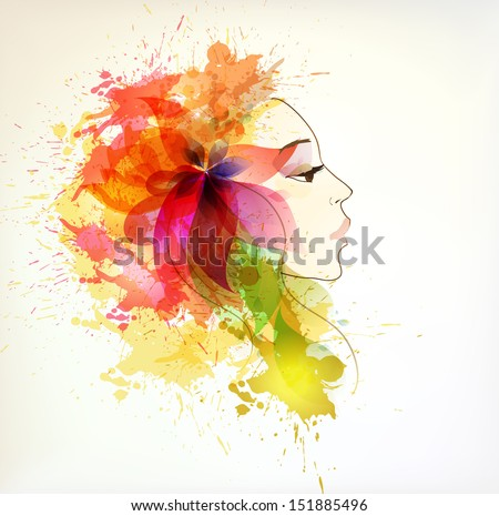 autumn Beautiful fashion women with abstract colorful flowers and blots. - stock vector