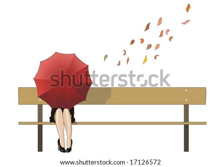 autumn bench - stock vector