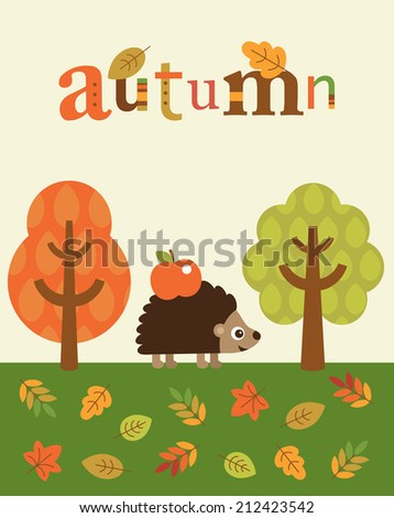 autumn card design. vector illustration - stock vector