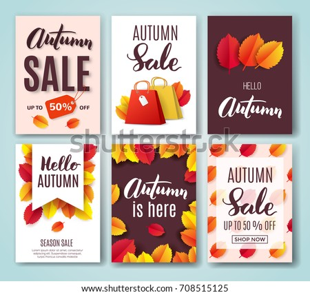 Autumn Card Set With Fall Quotes, Bright Leaves And Shopping Bag. Perfect  For Greeting