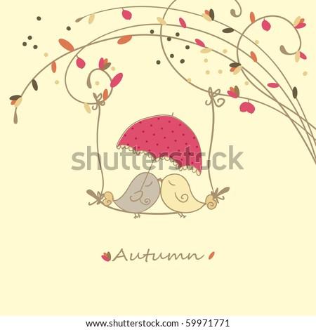 autumn card with birds on a swing - stock vector