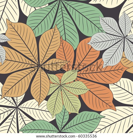 autumn chestnut's  leaves in pattern