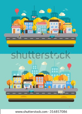 Autumn city landscapes set with buildings, shop and stores, people, transport, vector illustration. Yellow and orange trees in autumn park, Flat style background with beautiful autumn town