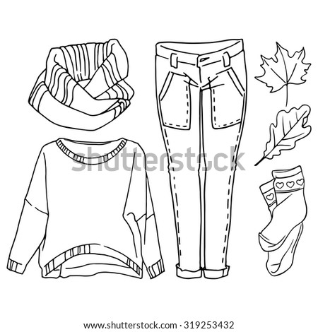 Autumn clothing set. Scarf, sweater, jeans and socks on a white background.