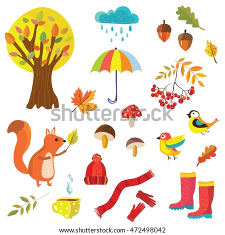 Autumn collection illustration with nature elements and animals - decorative style, vector design