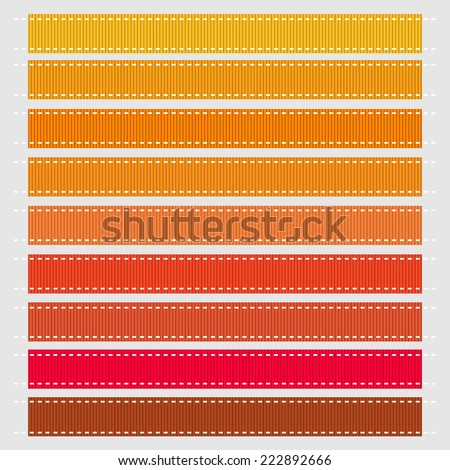 Autumn Colored Grosgrain Ribbons - stock vector