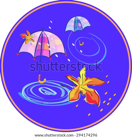 Autumn Composition in Round Frame with Umbrella, Maple Leaf and Rain Drops. - stock vector