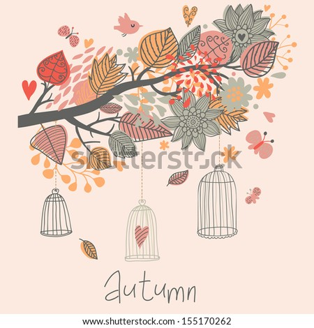 Autumn concept card in vector. Stylish branch with leafs and butterflies. Cages in the tree in vintage style