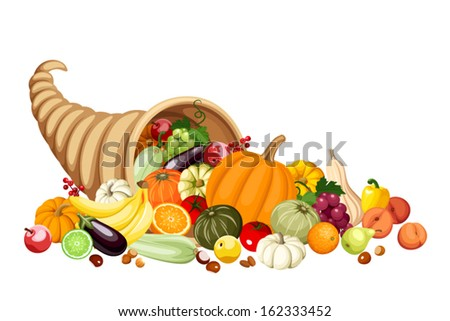 Autumn cornucopia (horn of plenty) with fruits and vegetables. Vector.  - stock vector