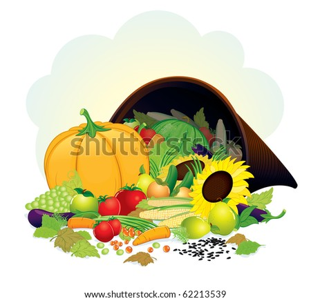 Autumn Cornucopia with fresh crop, vector illustration of Horn of Plenty. - stock vector
