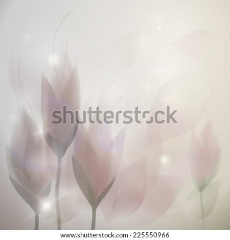 Autumn crocus / Elegant melancholy card with flowers  - stock vector