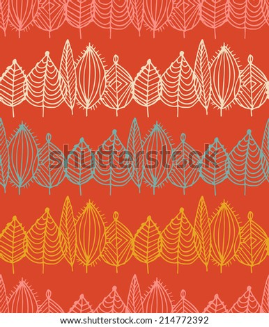 Autumn crossed leaves seamless pattern in vector. Fall foliage endless background in sketch style - stock vector