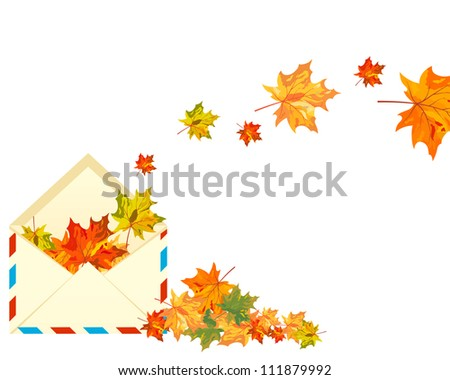 Autumn  Design With Post Envelope and  Maple Leaves in It on White Background. Elegant Design with Text Space and Ideal Balanced Colors. Vector Illustration.